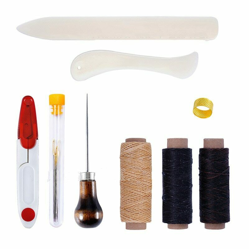 9Pieces/Set DIY Leather Craft Hand Thread Awl Wax Thimble Sewing Tools Needles