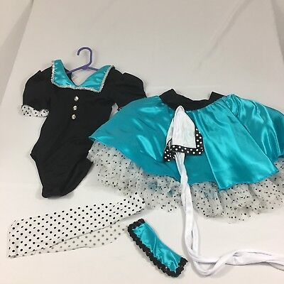 Dance Costume Dress Up Halloween Costume  Black Turquoise Size MC