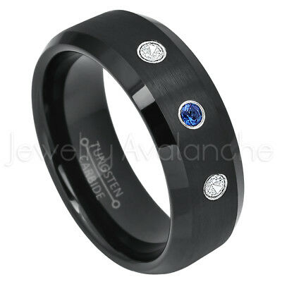 - Tungsten Ring,0.21ctw Blue Sapphire & Diamond 3-stone, September Birthstone #697