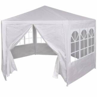 Outdoor Gazebo Party Tent w/ 6 Side Walls in White NEW