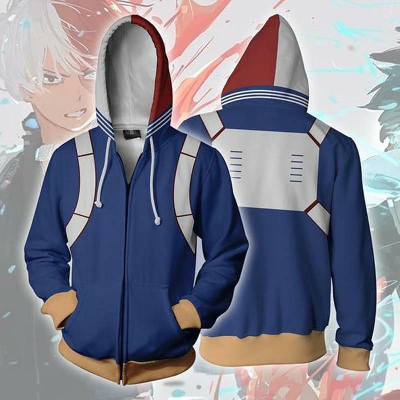 My Hero Academia Shoto Todoroki Cosplay Costume Zipper Jacket Sweatshirt Hoodie Activewear