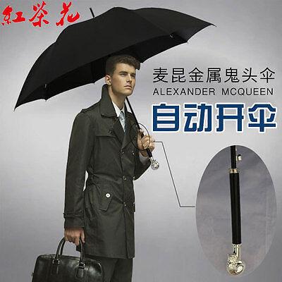 Creative Skull Long Handle Large Windproof Anti Sun Automatic Men' Umbrella 2018