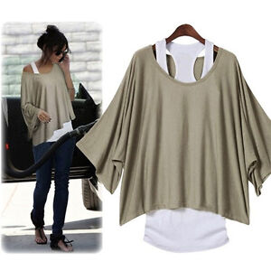 Janpan Women 2 Pcs Style Batwing Blouse Top Loose Casual T-shirt Sz S M L XL 2XL