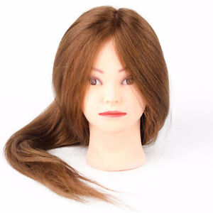 """100% Human Real 24"""" Long Hair Training Mannequin Head With Clamp"""