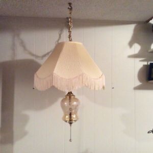 Vintage fabric and glass swag hanging lamp