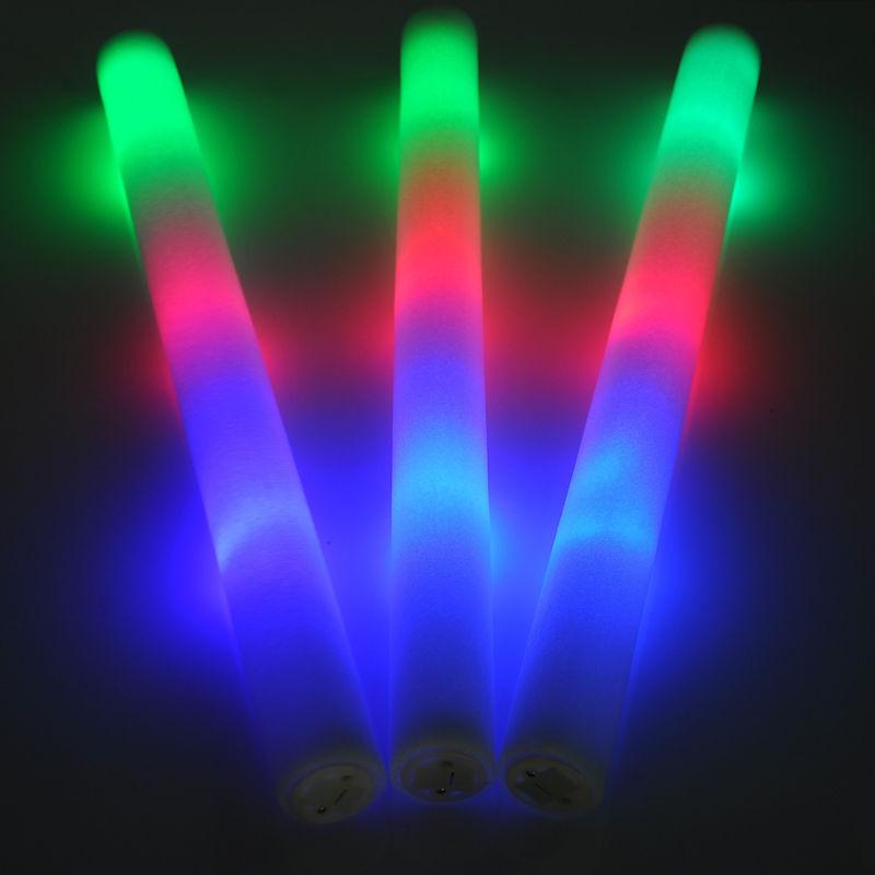 100 PCS LED Light Up Foam Sticks Rally Rave Cheer Tube Soft Glow Baton Wands NEW
