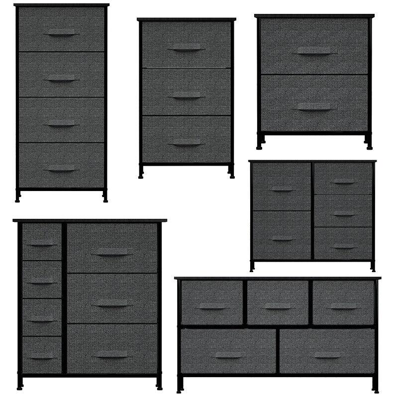 Chest Of Fabric Drawers Dresser 4/5/7 Bins Furniture Bedroom Storage Organizer