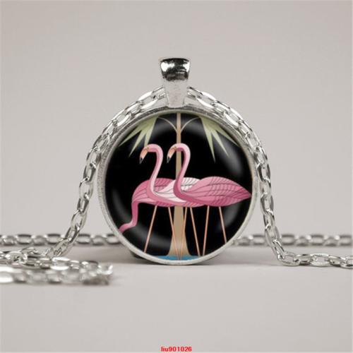 Flamingo Bird Photo Cabochon Glass Dome Silver Chain Pendant Necklace