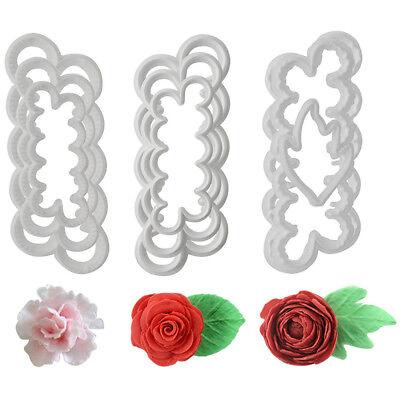 9Pcs 3D Peony Rose Petal Flower Icing Cutter Mold Cake Decorating Fondant Mould