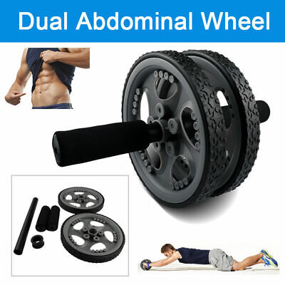 Dual AB Whell Roller Exercise Equipment Abdominal Workout Sport Fitness Gym New for sale  USA