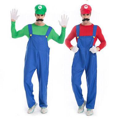 Erwachsene Super Mario Luigi Brothers Klempner Cosplay Kostüm Fasching