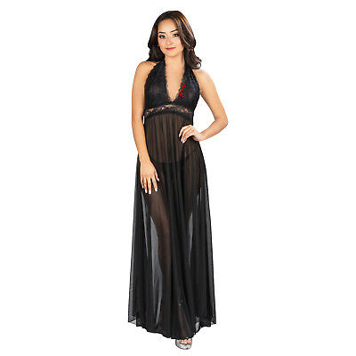 Long Black Sheer Robe (Black Women Sexy Sleepwear Floral Sheer Lace Night Gown With Halter Neck)