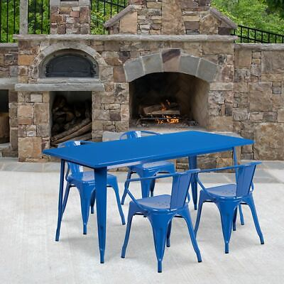 "Commercial Grade 31.5"" x 63"" Rectangular Blue Metal Indoor/Outdoor Table Set w/4"
