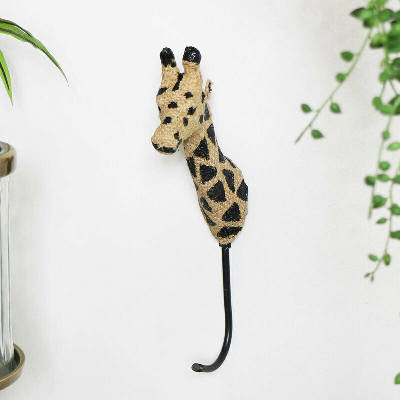 Hessian Giraffe Head wall Hook wall storage home decor safari jungle animal