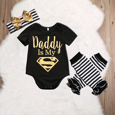 DADDY IS MY SUPERMAN Baby Girls Newborn Romper 3PCS Outfits Summer Cothes 0-18M - Baby Superman Outfit