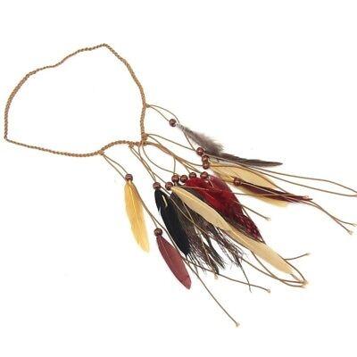 Indische Feder Stirnband Kopfschmuck Hippie Festival Boho Haarband #CHI
