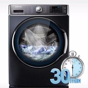 Laveuse à chargement frontal Grise de 6,5 pi³ avec Smart Care Samsung ( WF56H9100AG )