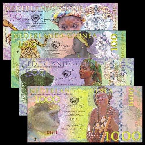 Netherland Guinea Set 4 PCS, 50 100 500 1000 Gulden, 2016, Fancy Polymer, UNC