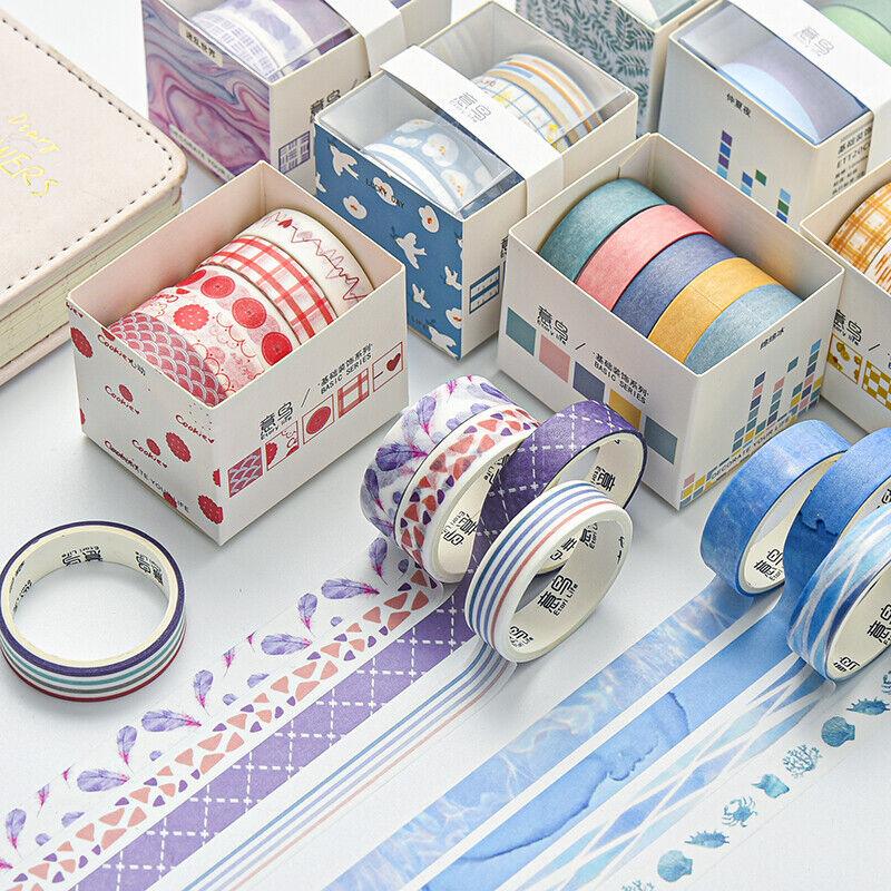 5 Rolls Cute Geometry Grid Adhesive Washi Tape Journal Album Scrapbooking Crafts