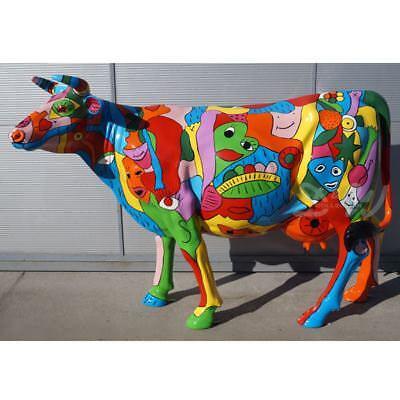 KUH mit KUNSTBEMALUNG Urban buntes Leben Deko Garten Tier Figur Skulptur Statue ()