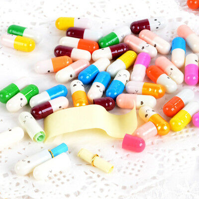 50pcs Blank Message Capsule Envelope Letter Paper Cute Smile Pill Message Letter