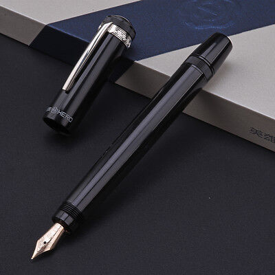 Hero H718 Piston Black Fountain Pen with Retractable 10K Gold Nib and Gift Box