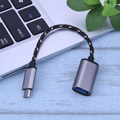 Aluminum Alloy Braided Micro USB Male to USB Female OTG Adapter Cable Cord segunda mano  Embacar hacia Argentina