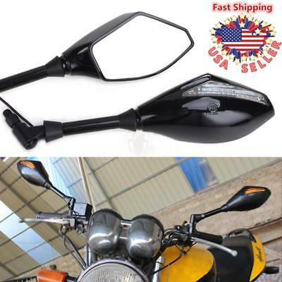 8mm 10mm Motorcycle LED Turn Signals Rear View Mirrors For Motor Cruiser Scooter