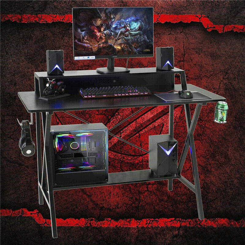 """47"""" Gaming Table Computer Desk Laptop PC Study Writing Table W/ USB & Cup Holder 6"""