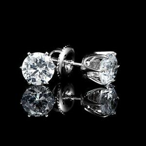 White Gold Diamond Stud Earrings 1.00 CTW Boucles d'Oreilles en Diamants
