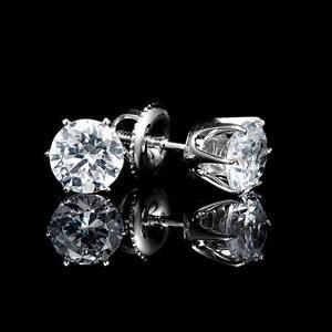 White Gold Diamond Stud Earrings 1.00 CTW Boucles d'Oreilles en Diamants