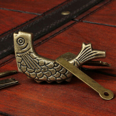 Retro Chinese Fish Lock Old Wooden Boxs Lock Jewelry Chest Box Case Lock Padlock