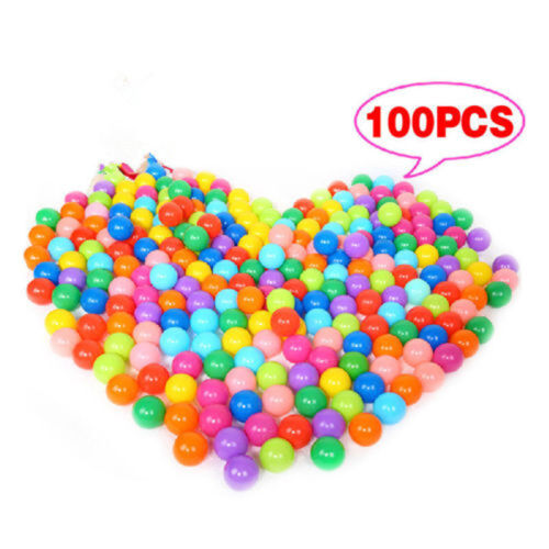 100 Multicolore PLASTICA GIOCO PALLINE BAMBINI GIOCATTOLO PER LA SFERA PISCINA