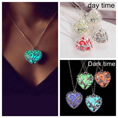 US Magic Luminous Steampunk Heart Glow In The Dark Necklace Pendant Gift Jewelry - Glow In The Dark Jewelry
