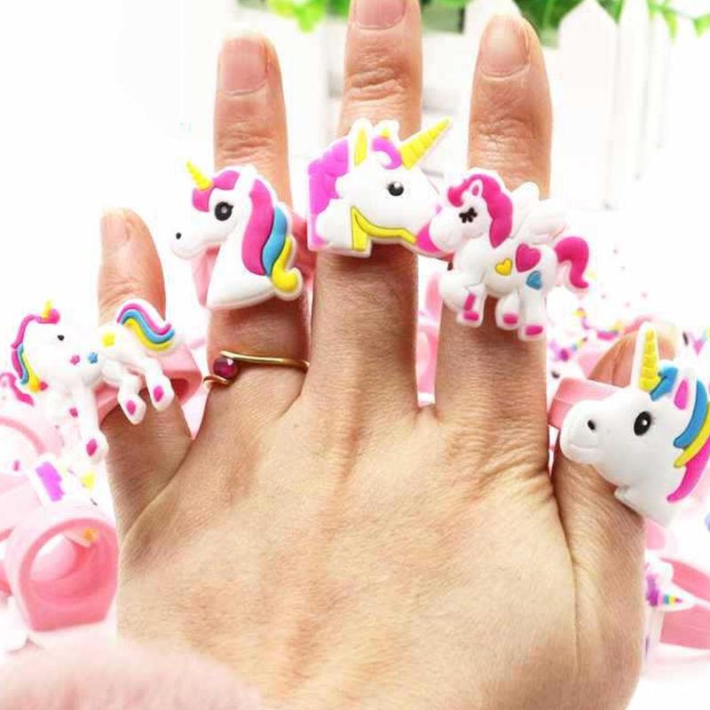 10Pcs Kids Silicone Unicorn Girls Party Rings Birthday Rubbe