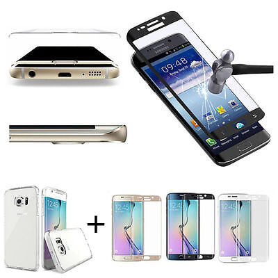 Tempered Glass Curved Full Cover Screen For Samsung Galaxy S7 S9 Edge&Clear Case