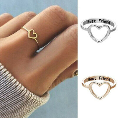 Women Girl Rings Best Friend Ring Heart Promise Jewelry Friendship Gift
