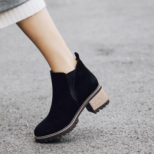 Women/'s Chelsea Boots 5cm Heel Elastic Biker Work Casual Ankle Boots Size 34-44