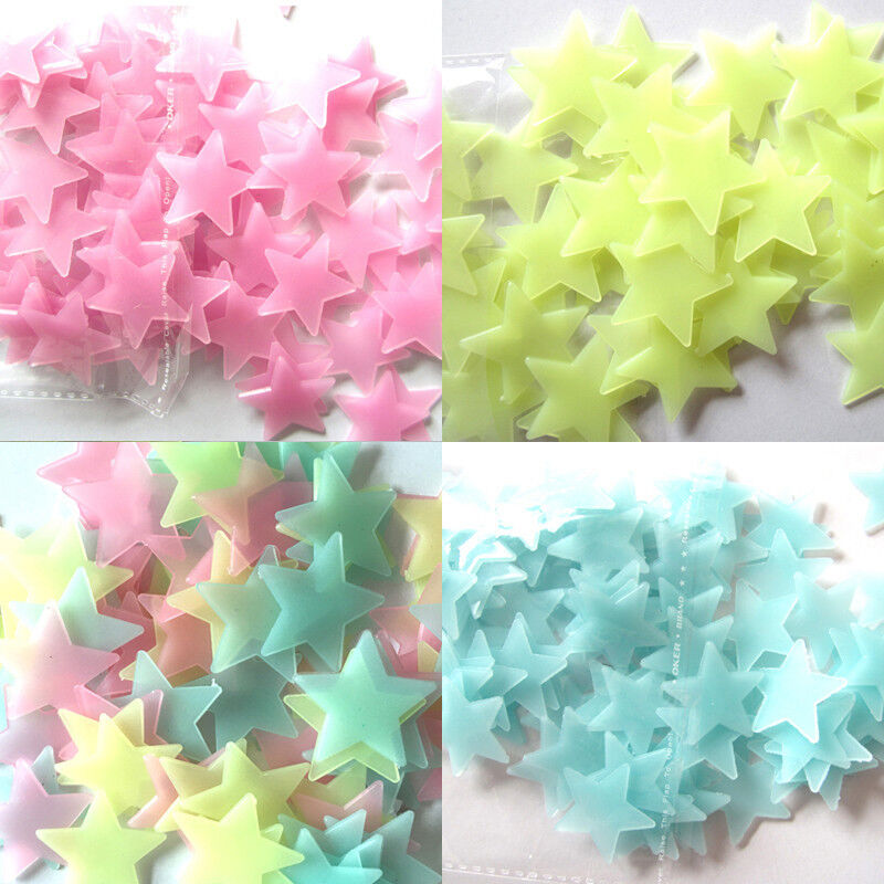 Home Decoration - Glow In The Dark Plastic Stars Fun Ceiling Wall Art Luminous Space Stickers 3cm