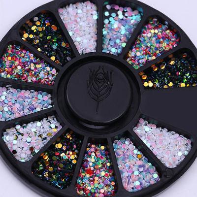 Nail Rhinestones Flakes Charms Flatback Mixed Color 3D Nail Art Decoration Wheel for sale  China