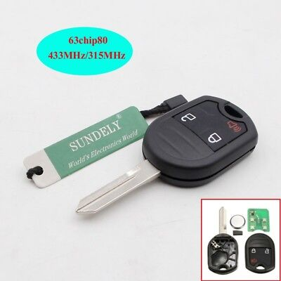 Uncut Blade 3 Button Keyless Remote Key Fob 63chip 80Bit for Ford F150 250 350