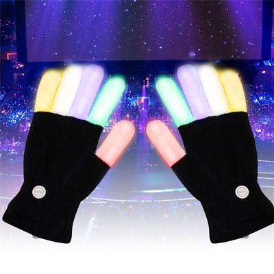 LED Rave Flashing Gloves Glow 7 Color Light Up Finger Tip Lighting Pair Black