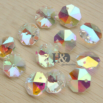 50Pcs 14Mm Colors Crystal Prism Octagon Bead Chandelier Lamp Parts Wedding Decor