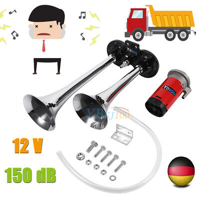 12V Fanfare Horn Drucklufthorn Nebelhorn Hupe LKW PKW Kompressor Laut Kräftig ES