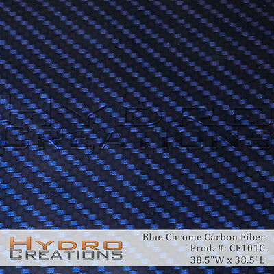 Hydrographic Film Hydro Dip Water Transfer Blue Chrome Carbon Fiber 38.5 X 38.5