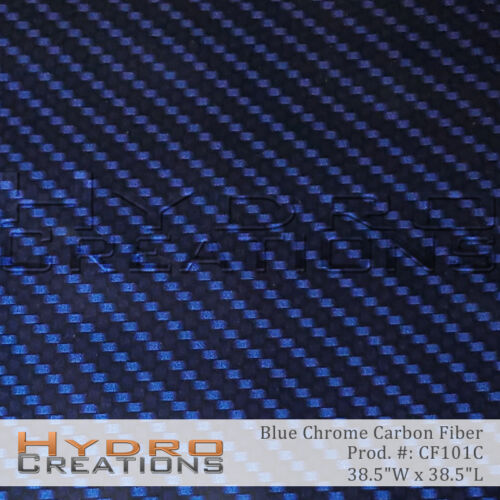 "HYDROGRAPHIC FILM HYDRO DIP WATER TRANSFER BLUE CHROME CARBON FIBER 38.5"" x 38.5"