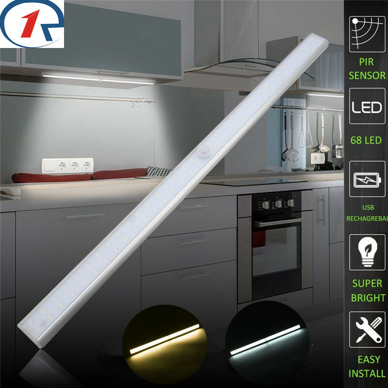 Wireless 68 Led Strip Pir Motion Sensor Closet Kitchen