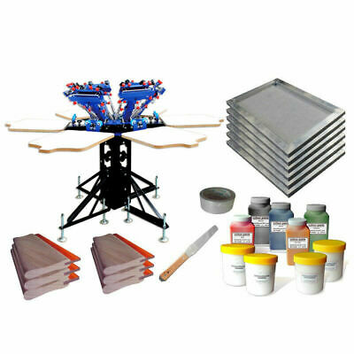 Updated Micro Registration 6 Color 6 Station Silk Screen Printing Kit Diy Supply