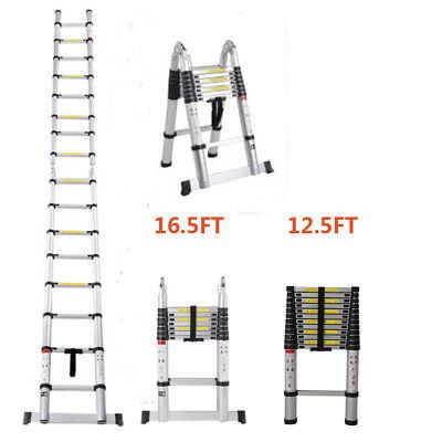 12.5FT 16.5FT Aluminum Multi-Purpose Telescopic Ladder Extension Foldable Duty