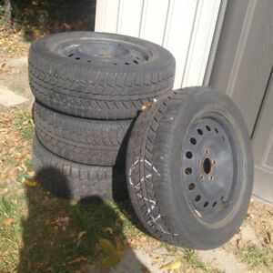 UNIROYAL 215/16 WINTER TIRE AND RIMS